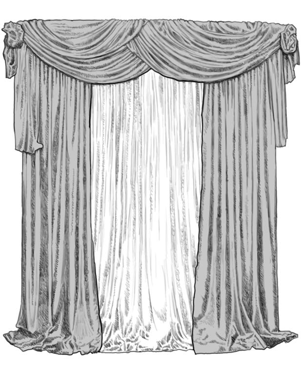 Экскизы шторы ламбрекены женский